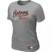 Wholesale Cheap Women's MLB Houston Astros Light Grey Nike Short Sleeve Practice T-Shirt