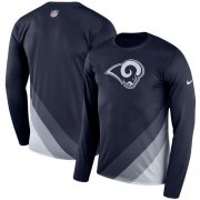 Wholesale Cheap Men's Los Angeles Rams Nike Navy Sideline Legend Prism Performance Long Sleeve T-Shirt
