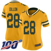 Wholesale Cheap Nike Packers #28 AJ Dillon Gold Women's Stitched NFL Limited Inverted Legend 100th Season Jersey