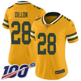 Wholesale Cheap Nike Packers #28 AJ Dillon Gold Women\'s Stitched NFL Limited Inverted Legend 100th Season Jersey