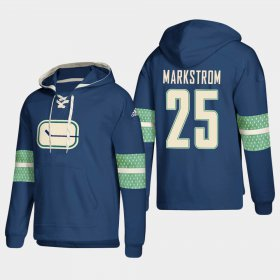 Wholesale Cheap Vancouver Canucks #25 Jacob Markstrom Blue adidas Lace-Up Pullover Hoodie