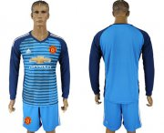 Wholesale Cheap Manchester United Blank Blue Long Sleeves Soccer Club Jersey