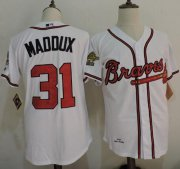 Wholesale Cheap Mitchell And Ness 1995 Braves #31 Greg Maddux White Throwback Stitched MLB Jersey