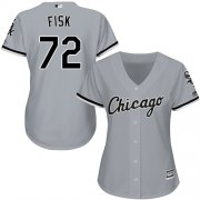Wholesale Cheap White Sox #72 Carlton Fisk Grey Road Women's Stitched MLB Jersey