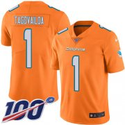 Wholesale Cheap Nike Dolphins #1 Tua Tagovailoa Orange Men's Stitched NFL Limited Rush 100th Season Jersey
