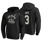 Wholesale Cheap New Orleans Saints #3 Wil Lutz 2019 NFC South Division Champions Black Cover Two Hoodie