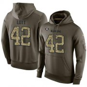 Wholesale Cheap NFL Men's Nike Oakland Raiders #42 Ronnie Lott Stitched Green Olive Salute To Service KO Performance Hoodie