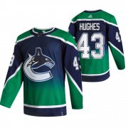Wholesale Cheap Vancouver Canucks #43 Quinn Hughes Green Men's Adidas 2020-21 Reverse Retro Alternate NHL Jersey