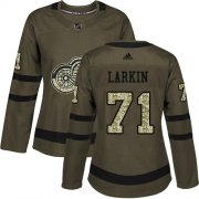 Wholesale Cheap Adidas Red Wings #71 Dylan Larkin Green Salute to Service Women's Stitched NHL Jersey