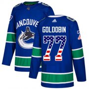 Wholesale Cheap Adidas Canucks #77 Nikolay Goldobin Blue Home Authentic USA Flag Youth Stitched NHL Jersey
