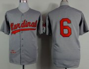 Wholesale Cheap Mitchell And Ness 1956 Cardinals #6 Stan Musial Grey Stitched MLB Jersey