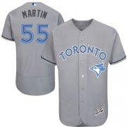 Wholesale Cheap Blue Jays #55 Russell Martin Grey Flexbase Authentic Collection Father's Day Stitched MLB Jersey