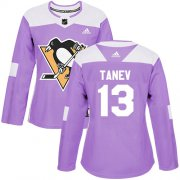 Wholesale Cheap Adidas Penguins #13 Brandon Tanev Purple Authentic Fights Cancer Women's Stitched NHL Jersey