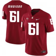 Wholesale Cheap Washington State Cougars 61 Cole Madison Red College Football Jersey