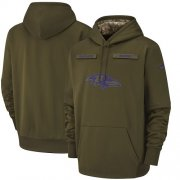 Wholesale Cheap Men's Baltimore Ravens Nike Olive Salute to Service Sideline Therma Performance Pullover Hoodie
