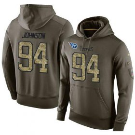 Wholesale Cheap NFL Men\'s Nike Tennessee Titans #94 Austin Johnson Stitched Green Olive Salute To Service KO Performance Hoodie
