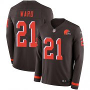 Wholesale Cheap Nike Browns #21 Denzel Ward Brown Team Color Men's Stitched NFL Limited Therma Long Sleeve Jersey