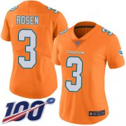 Wholesale Cheap Nike Dolphins #3 Josh Rosen Orange Women's Stitched NFL Limited Rush 100th Season Jersey