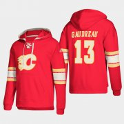 Wholesale Cheap Calgary Flames #13 Johnny Gaudreau Red adidas Lace-Up Pullover Hoodie