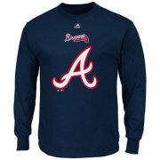 Wholesale Cheap Atlanta Braves Majestic Critical Victory Long Sleeves T-Shirt Navy