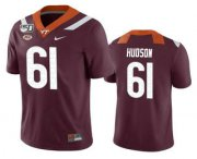 Wholesale Cheap Men's Virginia Tech Hokies #61 Bryan Hudson Maroon 150th College Football Nike Jersey