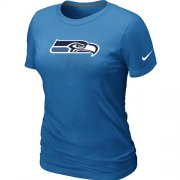 Wholesale Cheap Women's Nike Seattle Seahawks Logo NFL T-Shirt Light Blue