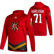 Wholesale Cheap Vegas Golden Knights #71 William Karlsson Adidas Reverse Retro Pullover Hoodie Red