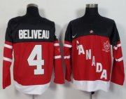 Wholesale Olympic CA. #4 Jean Beliveau Red 100th Anniversary Stitched NHL Jersey