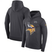 Wholesale Cheap NFL Men's Minnesota Vikings Nike Anthracite Crucial Catch Performance Pullover Hoodie