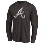 Wholesale Cheap Atlanta Braves Platinum Collection Long Sleeve Tri-Blend T-Shirt Black