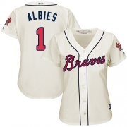 Wholesale Cheap Braves #1 Ozzie Albies Cream Alternate Women's Stitched MLB Jersey