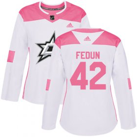 Cheap Adidas Stars #42 Taylor Fedun White/Pink Authentic Fashion Women\'s Stitched NHL Jersey