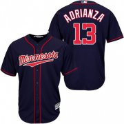 Wholesale Cheap Twins #13 Ehire Adrianza Navy Blue Cool Base Stitched Youth MLB Jersey
