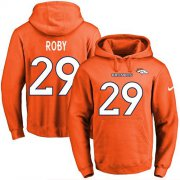 Wholesale Cheap Nike Broncos #29 Bradley Roby Orange Name & Number Pullover NFL Hoodie