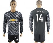 Wholesale Cheap Manchester United #14 Lingard Black Long Sleeves Soccer Club Jersey