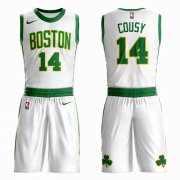 Wholesale Cheap Boston Celtics #14 Bob Cousy White Nike NBA Men's City Edition Suit Authentic Jersey