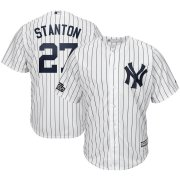 Wholesale Cheap New York Yankees #27 Giancarlo Stanton Majestic 2019 London Series Cool Base Player Jersey White Navy