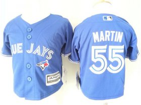 Wholesale Cheap Toddler Blue Jays #55 Russell Martin Blue Cool Base Stitched MLB Jersey