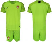 Wholesale Cheap Portugal Blank Shiny Green Goalkeeper Soccer Country Jersey