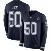 Wholesale Cheap Nike Cowboys #50 Sean Lee Navy Blue Team Color Men's Stitched NFL Limited Therma Long Sleeve Jersey