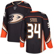 Wholesale Cheap Adidas Ducks #34 Sam Steel Black Home Authentic Youth Stitched NHL Jersey