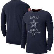 Wholesale Cheap Men's Dallas Cowboys Nike Navy 2019 Salute to Service Sideline Performance Long Sleeve Shirt