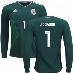 Wholesale Cheap Mexico #1 J.Corona Home Long Sleeves Kid Soccer Country Jersey