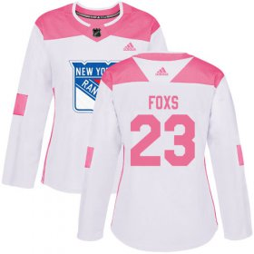 Wholesale Cheap Adidas Rangers #23 Adam Foxs White/Pink Authentic Fashion Women\'s Stitched NHL Jersey