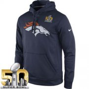 Wholesale Cheap Men's Denver Broncos Nike Navy Super Bowl 50 Practice Performance Pullover Hoodie
