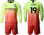 Wholesale Cheap Manchester City #19 Sane Third Long Sleeves Soccer Club Jersey