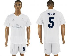 Wholesale Cheap Real Madrid #5 Varane Marine Environmental Protection Home Soccer Club Jersey