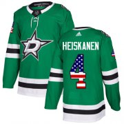Wholesale Cheap Adidas Stars #4 Miro Heiskanen Green Home Authentic USA Flag Stitched NHL Jersey