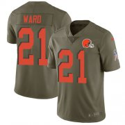 Wholesale Cheap Nike Browns #21 Denzel Ward Olive Youth Stitched NFL Limited 2017 Salute to Service Jersey