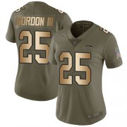Wholesale Cheap Nike Chargers #25 Melvin Gordon III Olive/Gold Women's Stitched NFL Limited 2017 Salute to Service Jersey